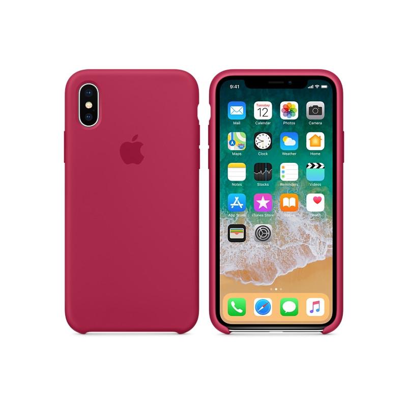 Original Apple Case Hard Silicone iPhone X Rose Red Retail