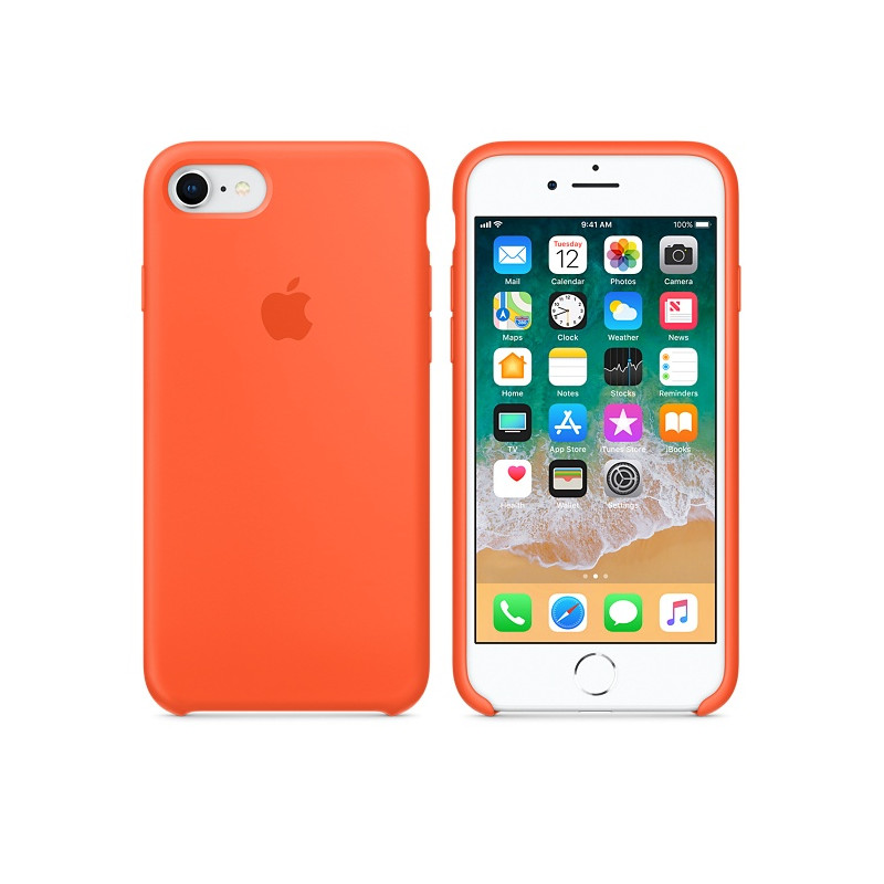 Original Apple Case Hard Silicone iPhone 8 / iPhone 7 Spicy Orange Retail