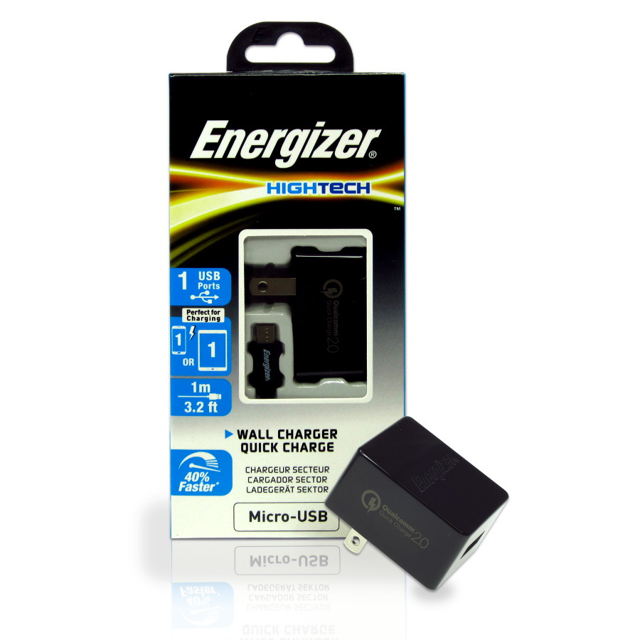 Original Energizer Travel Charger Micro USB (Adaptive Fast Charging) HighTech 2.4amp Cable included Black Retail