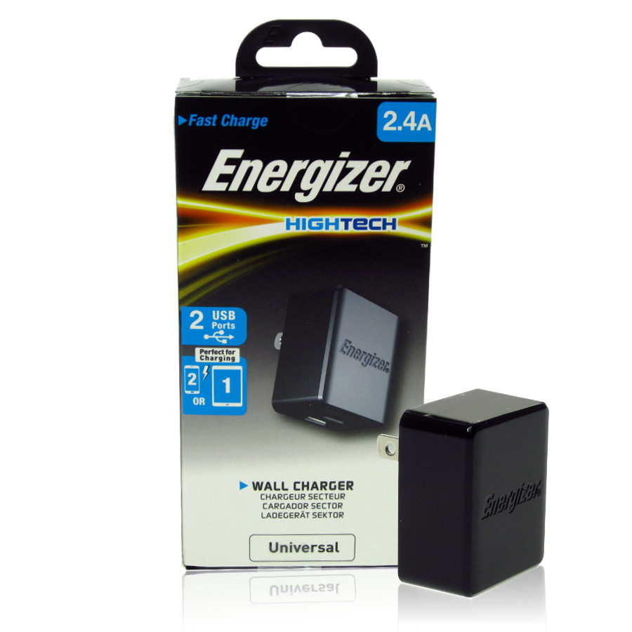 Original Energizer Travel Charger Universal W/2 USB Ports (Cable Not Included) HighTech 2.4amp Black Retail