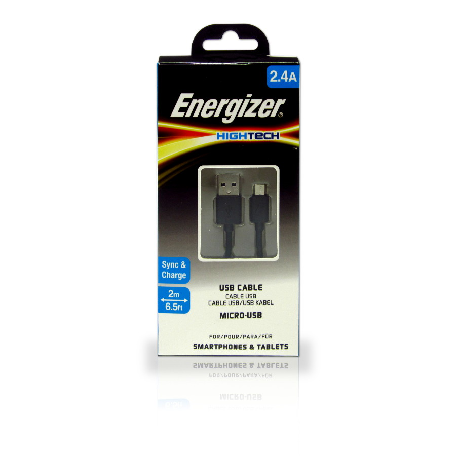 Original Energizer Data Cable Micro USB HighTech 2m Black Retail
