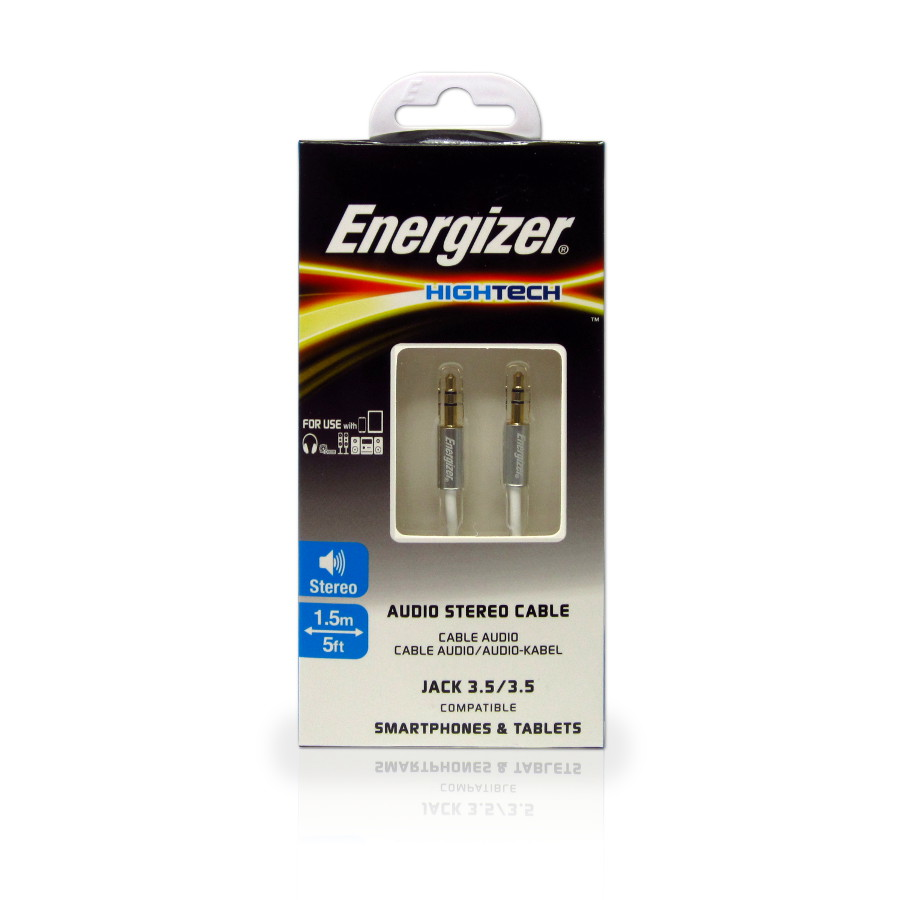 Original Energizer Audio Cable 3.5mm to 3.5mm HighTech 1.5m Aluminum White Retial