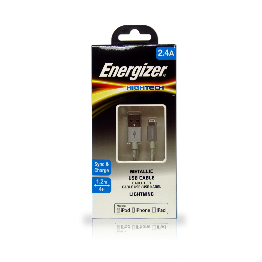 Original Energizer Data Cable Lightning High Tech MFI 4ft / 1.2m Metallic Gray Retail