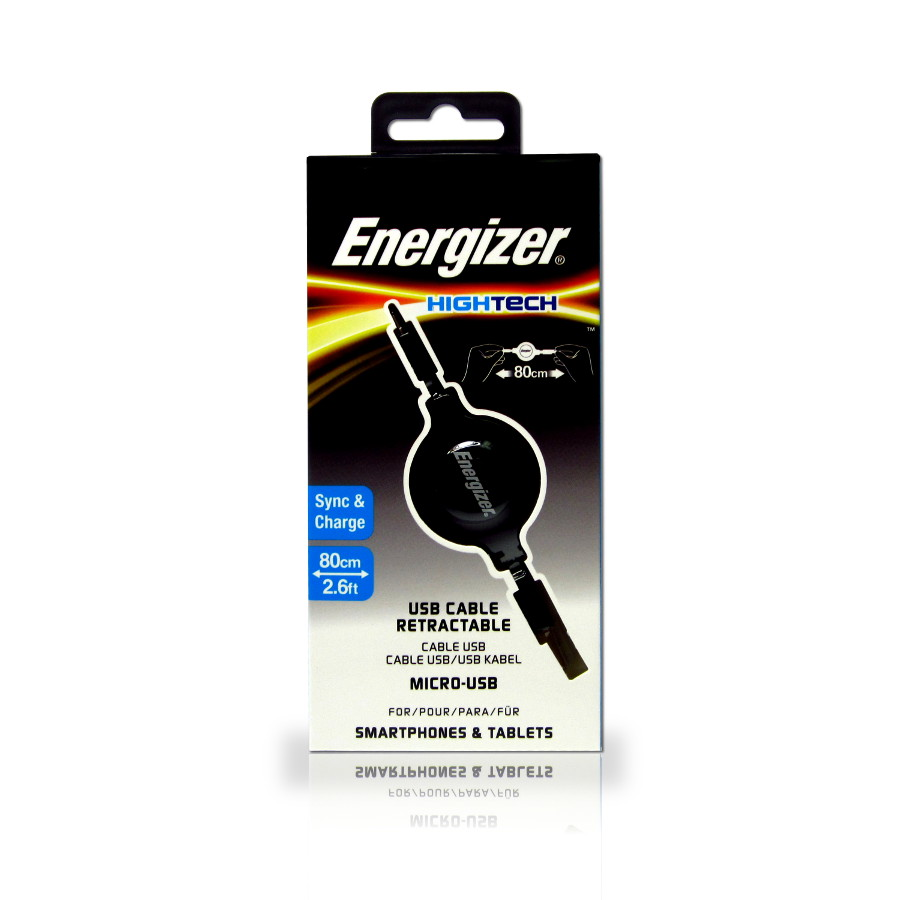 Original Energizer Data Cable Micro USB Retractable 80cm Black Retail