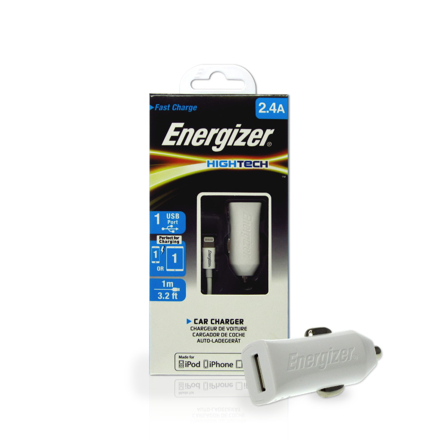 Original Energizer Car Charger Lightning Hight Tech MFI 2.4amp Cable Included White Retail