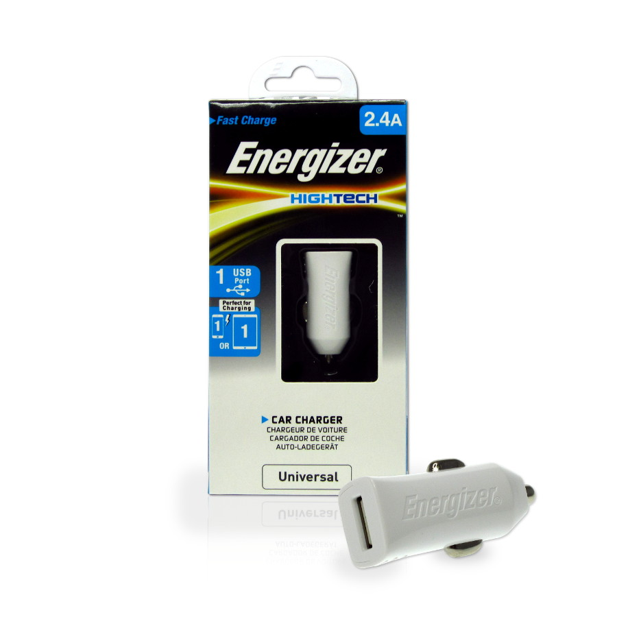 Original Energizer Car Charger Universal W/1 USB Port ( Cable Not Included) HighTech 2.4amp White Retail