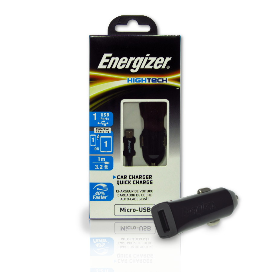 Original Energizer Car Charger Micro USB ( Adaptive Fast Charging) HighTech 2amp Cable Included Black Retail