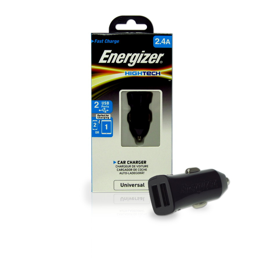 Original Energizer Car Charger Universal W/2 USB Ports (Cable Not Included)  HighTech 2.4amp Black Retail