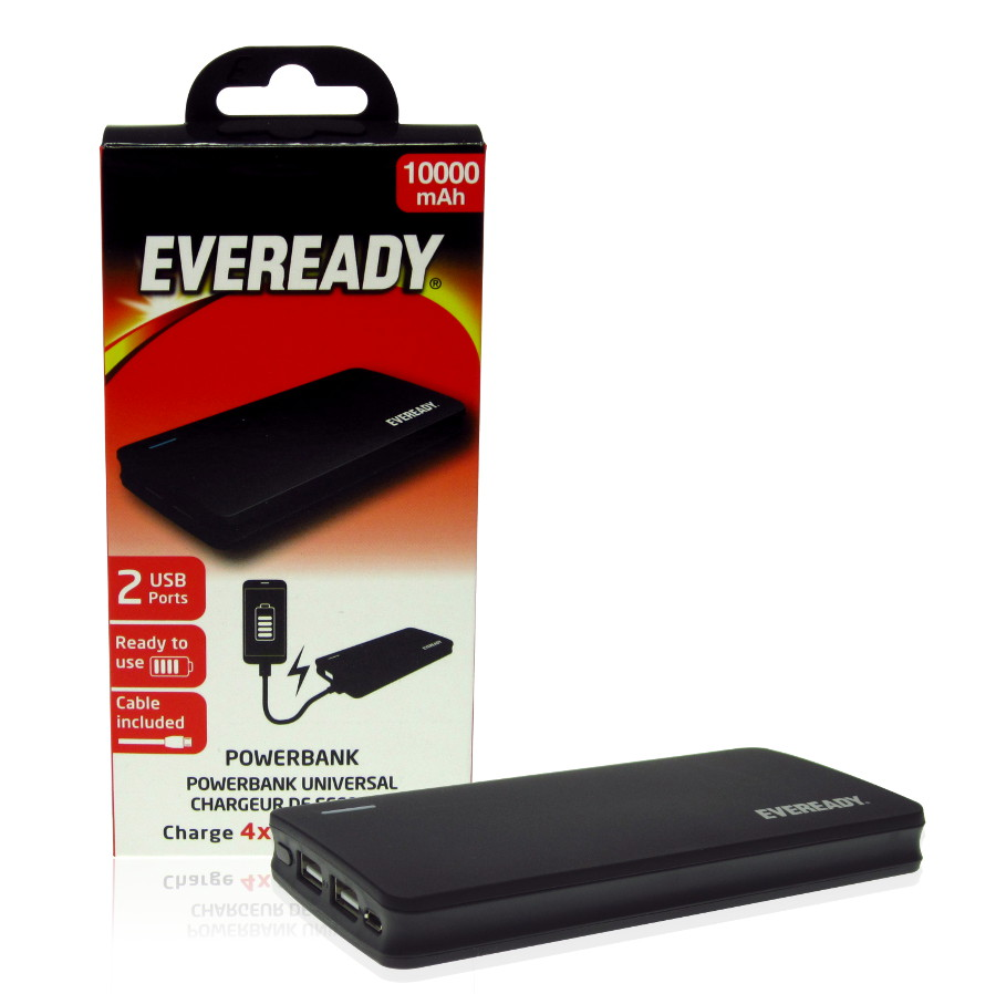 Original Eveready Power Bank Li-Polymer Ultra Slim 10000mah W/2 USB Port 2.1amp each Port  Black Retail