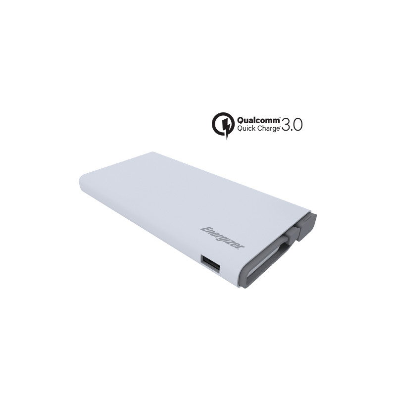 Original Energizer Power Bank 10000 mAh Fast Charging Qualcomm 3.0 W/ Micro USB Cable Attached White Retail