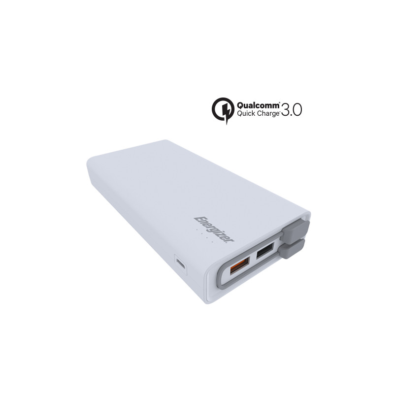 Original Energizer Power Bank 20000 mAh Fast Charging Qualcomm 3.0 W/ Micro USB Cable Attached White Retail