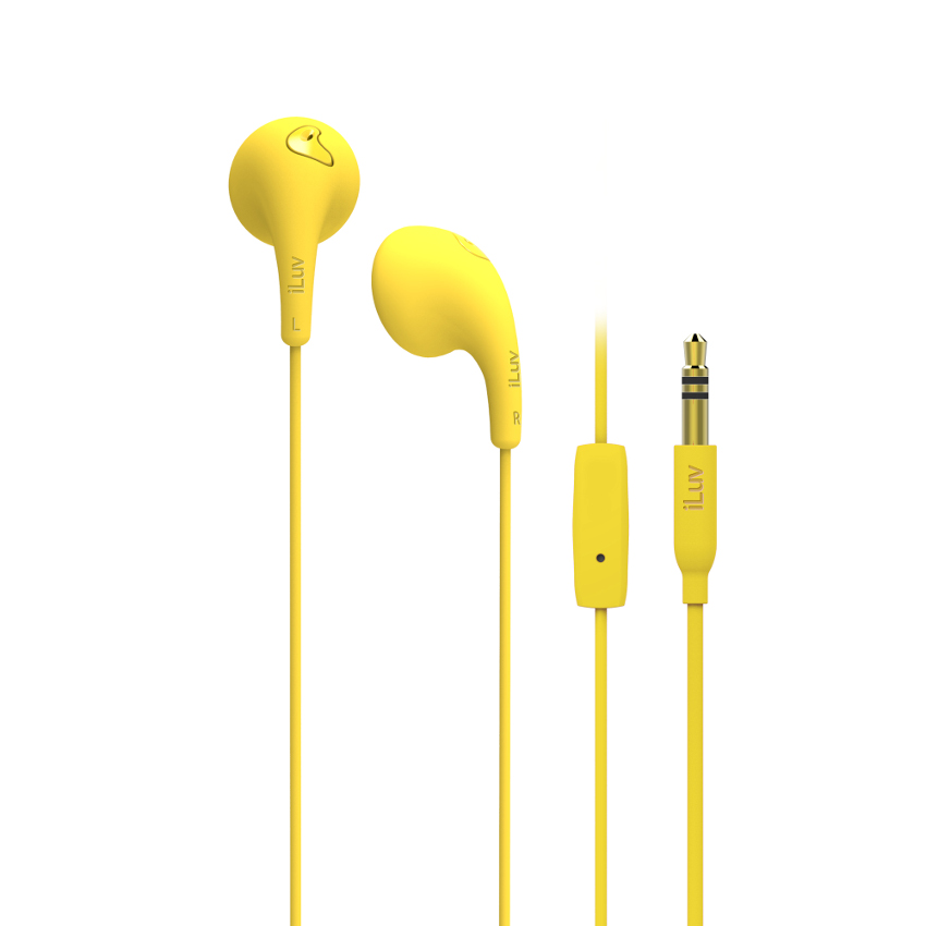 Original iLuv Stereo Hands Free with Mic & Remote 3.5mm Bubble Gum Talk Yellow