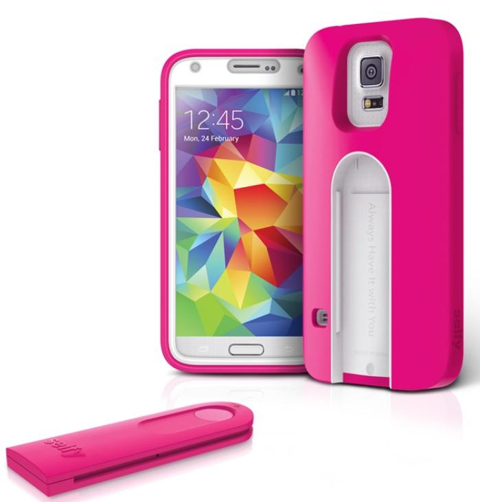 Original iLuv Case Samsung Galaxy S5 Selfy - Dual piece Case w/Remote Shutter Pink