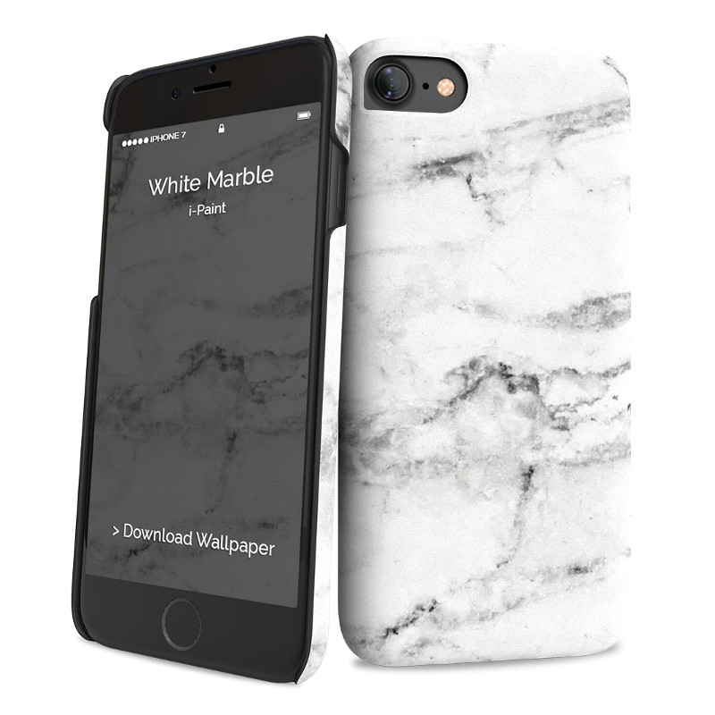 Original i-Paint Case iPhone 7 Hard WHITE MARBLE