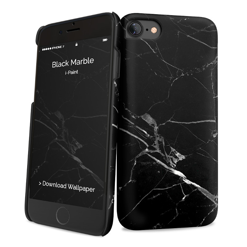 Original i-Paint Case iPhone 7 Hard BLACK MARBLE
