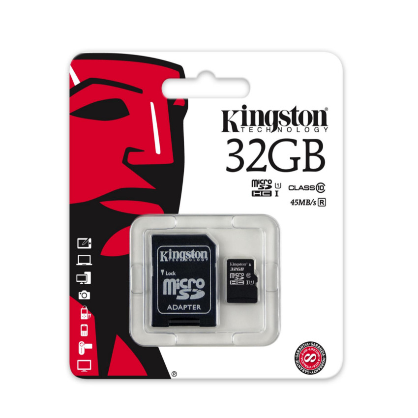 Original Kingston Memory Card micro SD 32GB Class 10 with SD
