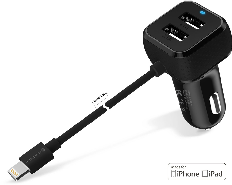 Original Kodiak Car Charger 3-in-1 Lightning  MFI  6.6 Amps W/2 USB Ports Black Retail