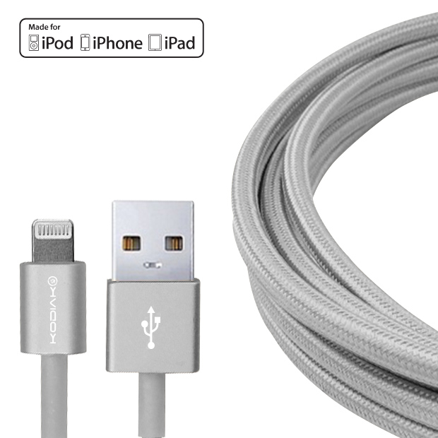 original-kodiak-iphone-5-6-lightning-mfi-charging-data-cable-aluminum-housing-silver-66ft-2m-silver-retail