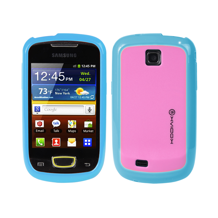 Original Kodiak Fuzion Case Samsung Galaxy Mini / S5570 Light Blue - Pink with Anti-Fingerprint Protector in Retail