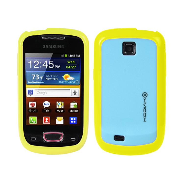 Original Kodiak Fuzion Case Samsung Galaxy Mini / S5570 Yellow - Light Blue with Anti-Fingerprint Protector in Retail