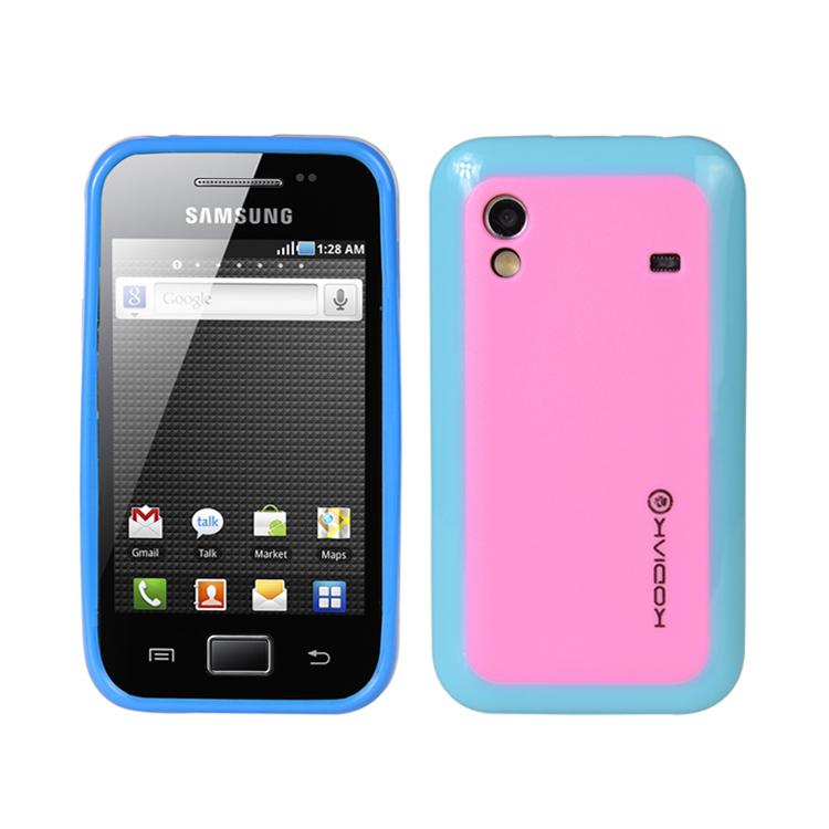 Original Kodiak Fuzion Case Samsung Galaxy Ace / S5830 Light Blue - Pink with Anti-Fingerprint Protector in Retail