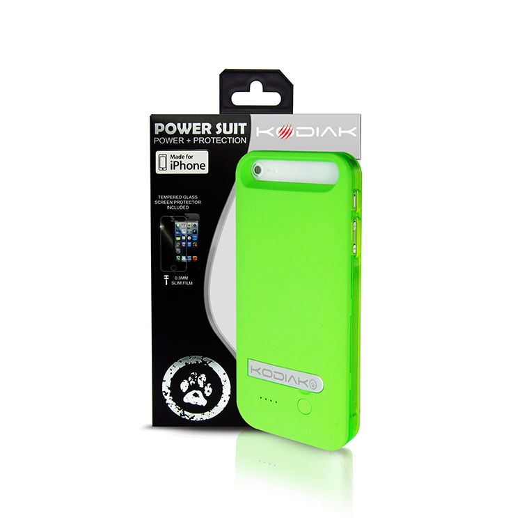 Original Kodiak Power Suit Case  iPhone 5/5S/SE MFI 2400mAh Green Retail