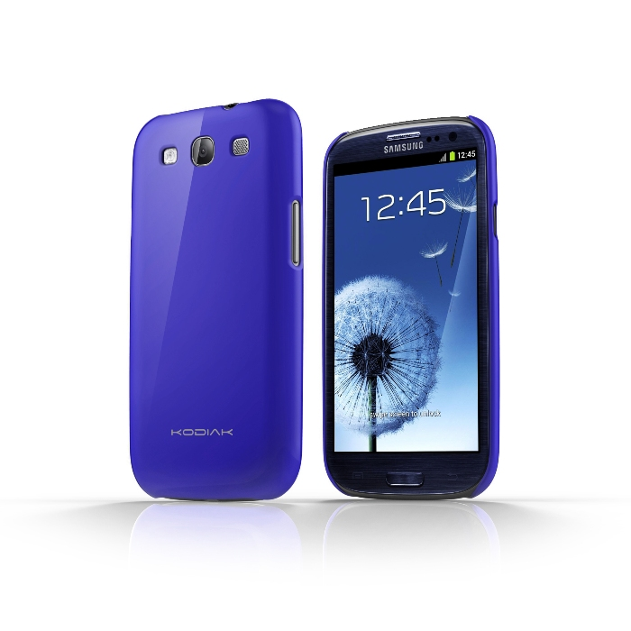Original Kodiak Skinny Case Samsung Galaxy S3 Gloss Deep Blue with Anti-Fingerprint Protector in Retail