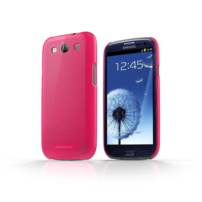 Original Kodiak Skinny Case Samsung Galaxy S3 Grip Pink with Anti-Fingerprint Protector in Retail