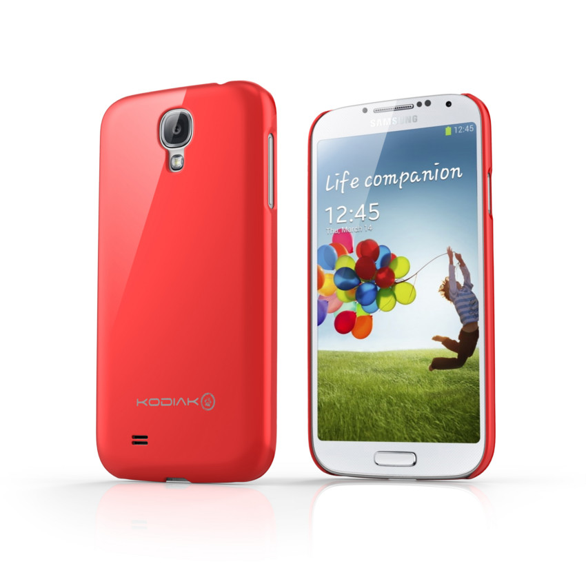 Original Kodiak Skinny Case Samsung Galaxy s4 Gloss Red with Anti-Fingerprint Protector in Retail