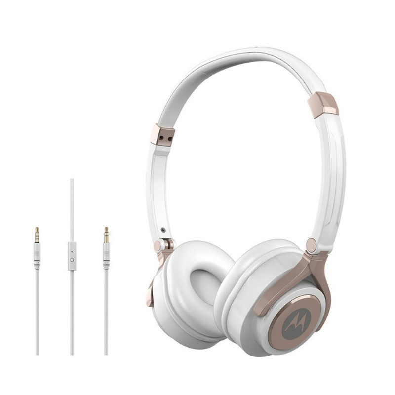 Original Motorola Hands Free 3.5mm Wired Headphones Pulse 2 Premium Stereo W/Remote and Mic White Retail