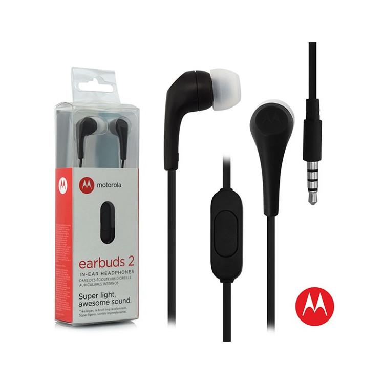 Original Motorola Hands Free 3.5mm Earbuds 2 Premium Stereo W/Remote and Mic Black Retail