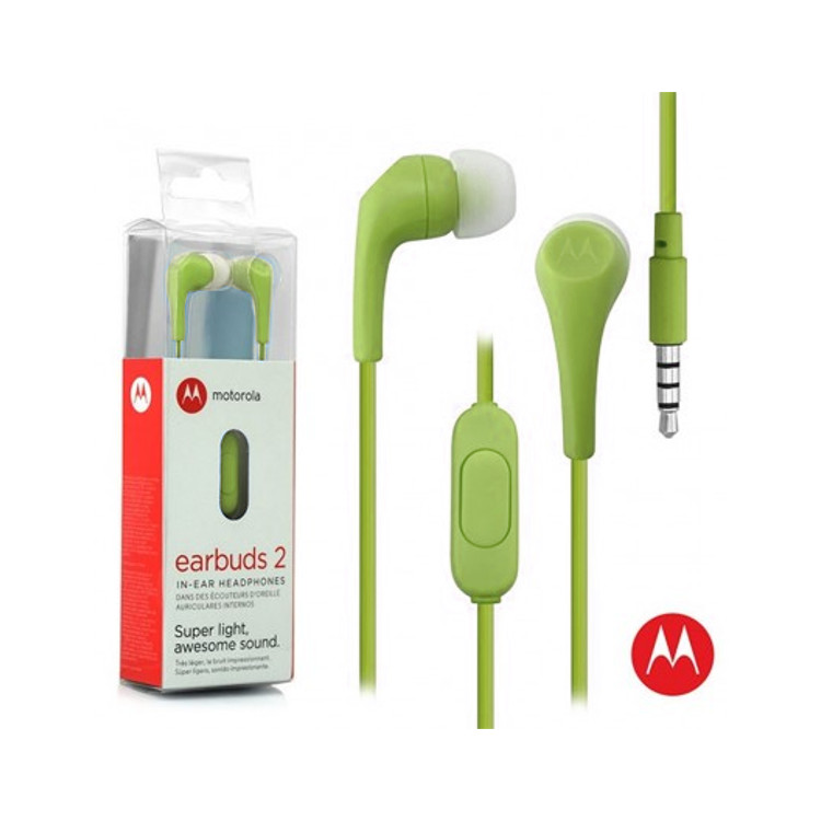 Original Motorola Hands Free 3.5mm Earbuds 2 Premium Stereo W/Remote and Mic Olive Green Retail