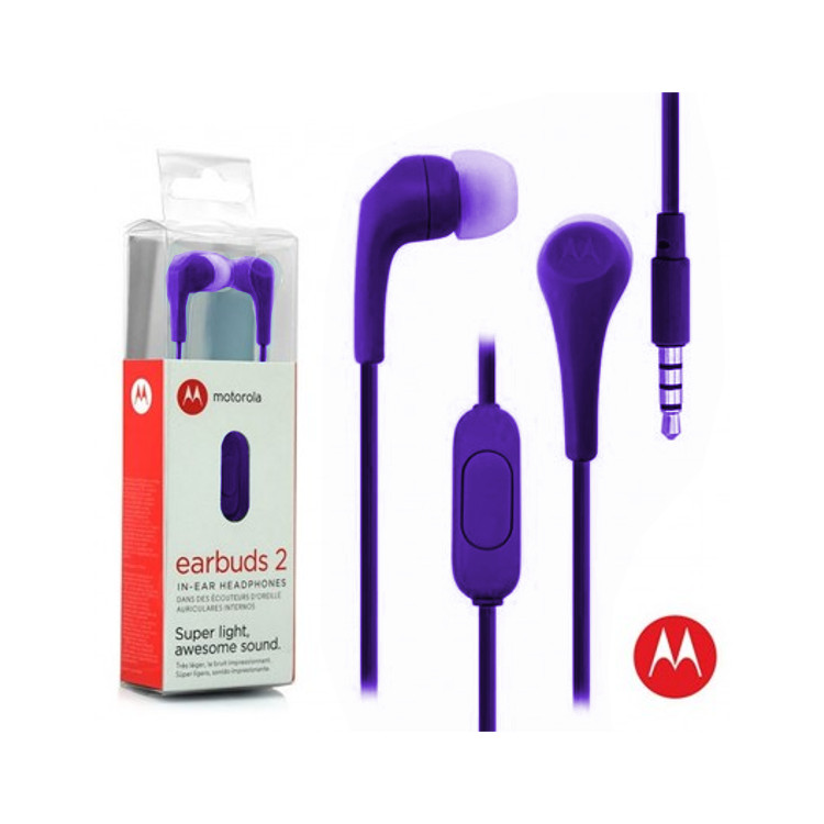 Original Motorola Hands Free 3.5mm Earbuds 2 Premium Stereo W/Remote and Mic Purple Retail