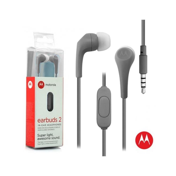 Original Motorola Hands Free 3.5mm Earbuds 2 Premium Stereo W/Remote and Mic Slate Gray Retail