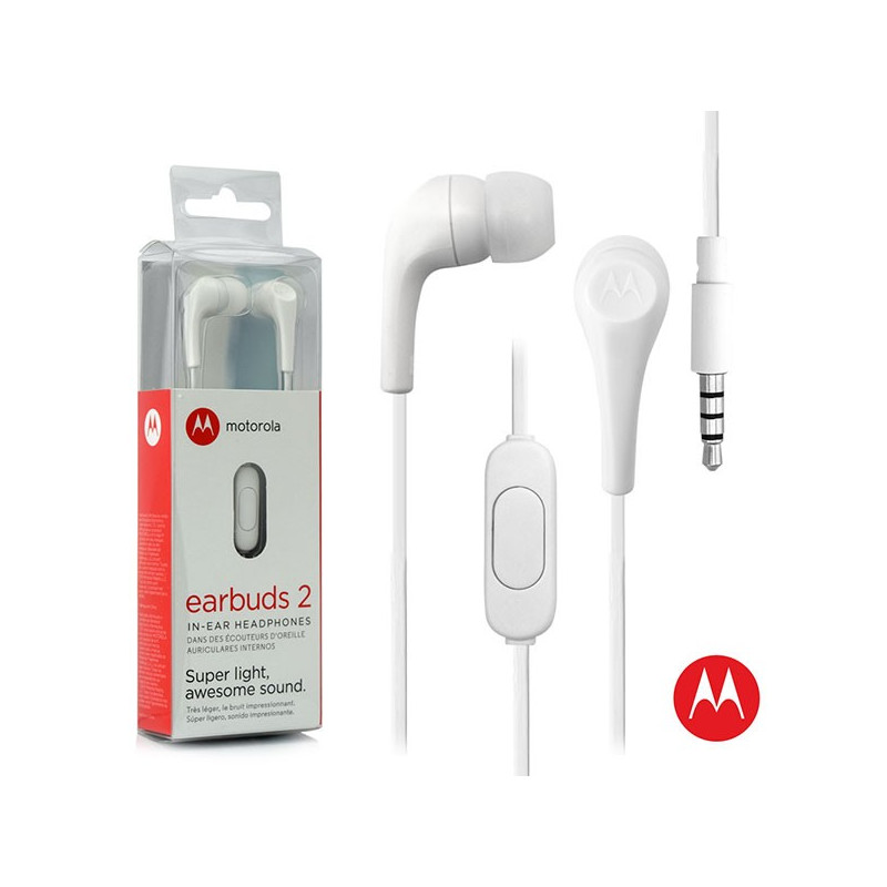 Original Motorola Hands Free 3.5mm Earbuds 2 Premium Stereo W/Remote and Mic White Retail