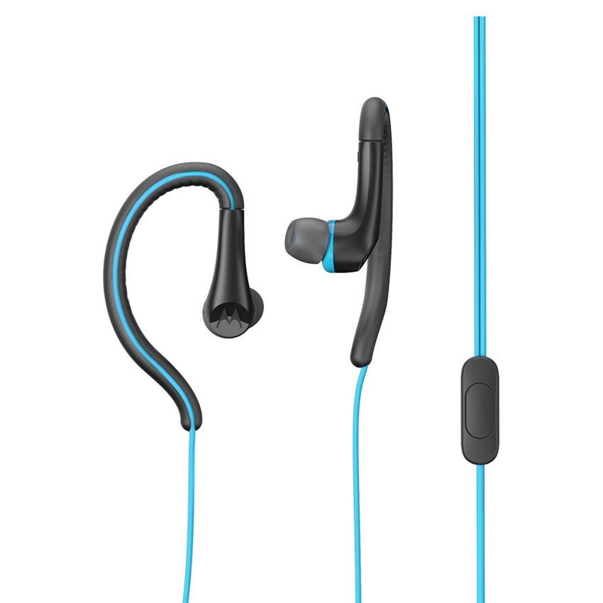 Original Motorola Hands Free 3.5mm Earbuds Sport Water Resistant IPX4 W/ Remote and Mic Blue Retail
