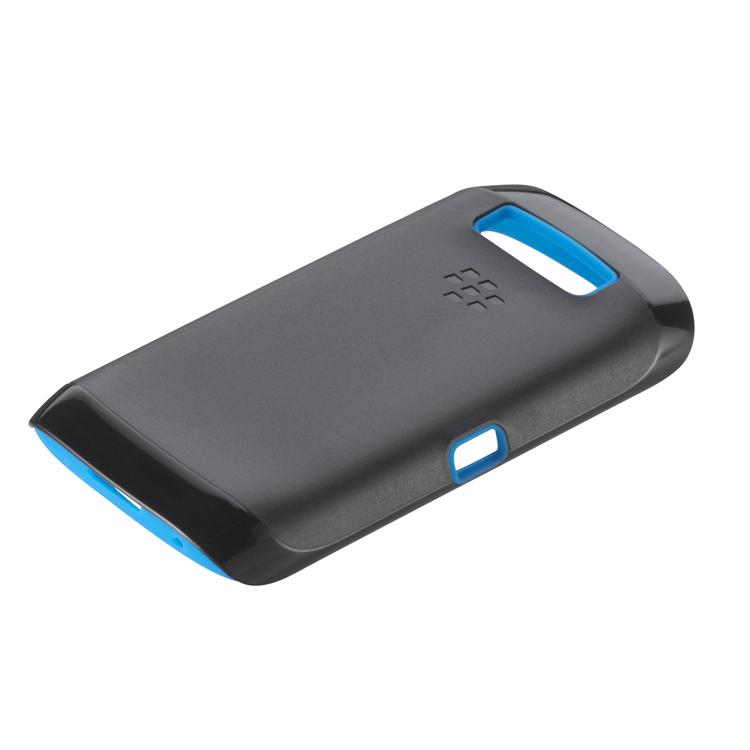 Original Blackberry Premium Skin 9850 / 9860 Black w/ Sky Blue accent