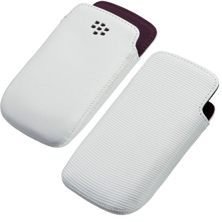 Original Blackberry Leather Case 9350/9360/9370 Pocket White W/ Royal Purple Liner Bulk