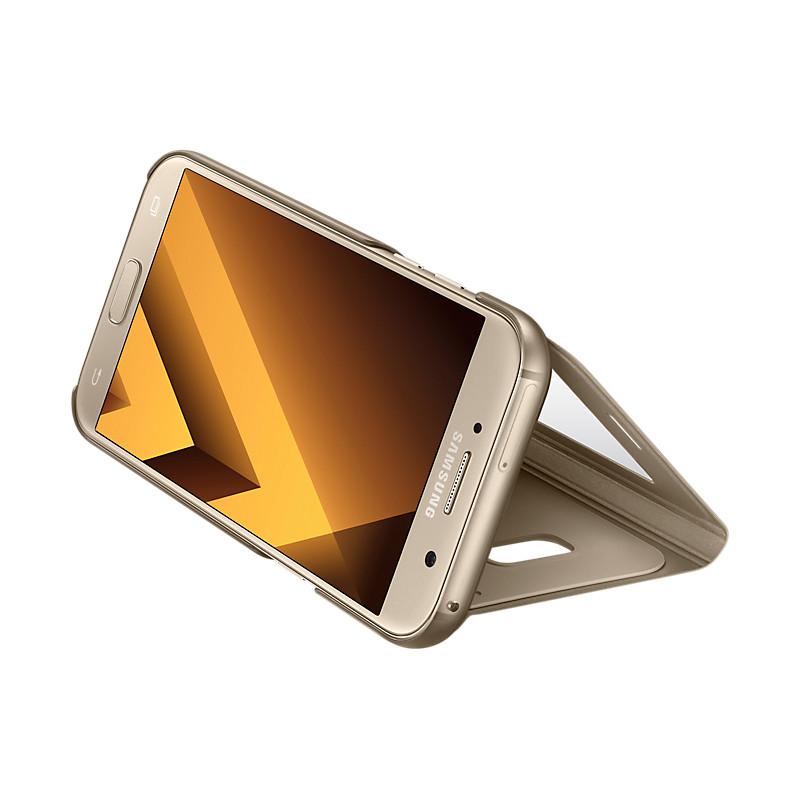Original Samsung Flip Cover S View Standing Galaxy A7 2017 ( SM-A720) Gold Retail