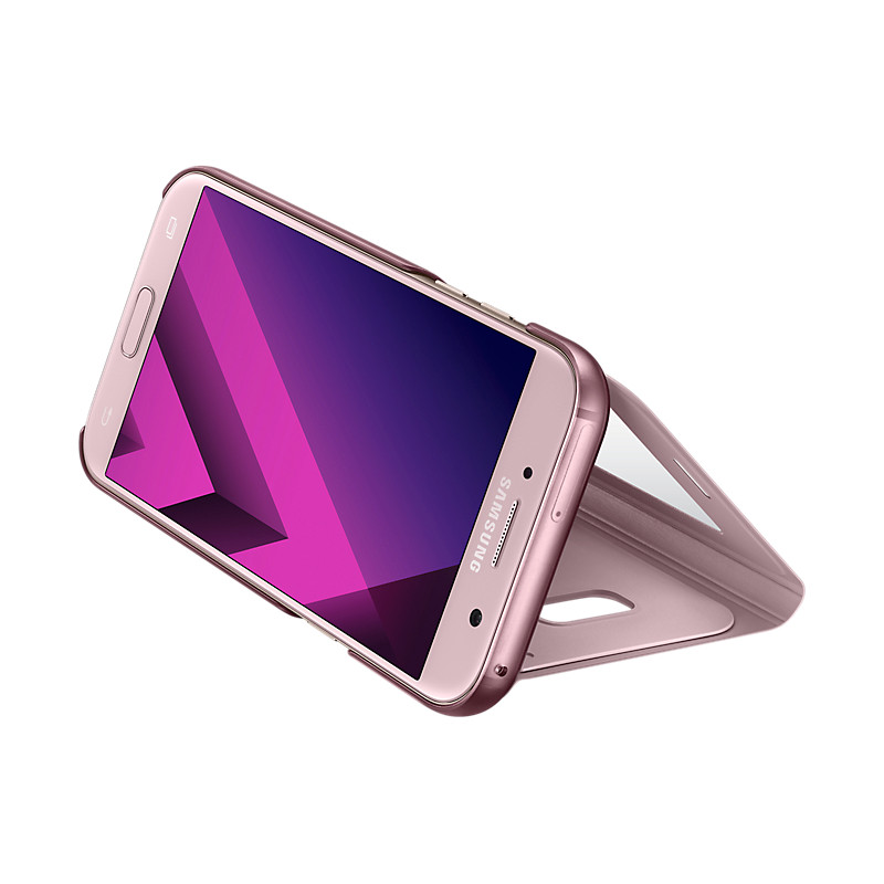 Original Samsung Flip Cover S View Standing Galaxy A7 2017 ( SM-A720) Pink Retail