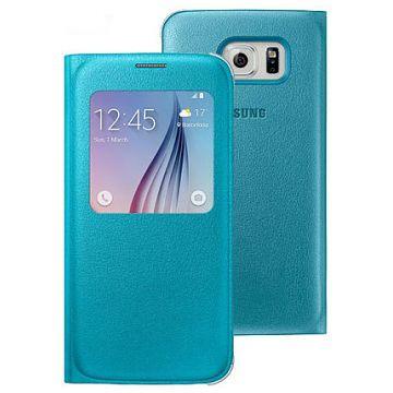 Original Samsung Flip Cover S View  Galaxy S6 Blue Retail
