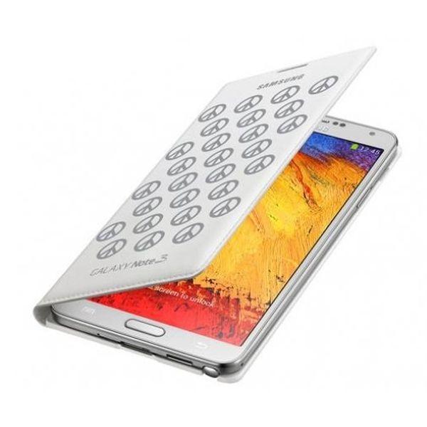 Original Samsung Wallet Flip Cover Galaxy Note 3 Designer Moschino White Peace Retail