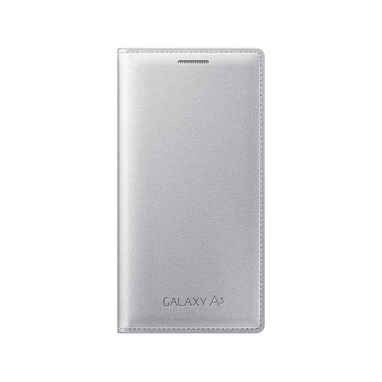 Original Samsung Wallet Flip Cover Galaxy  A3 Silver Retail