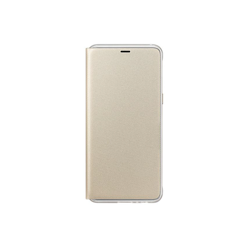 Original Samsung Neon Flip Cover Galaxy A8 Plus 2018 Gold Retail