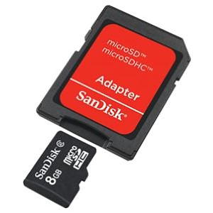 Original SanDisk Memory Card micro SD 8GB with SD Adapter Retail
