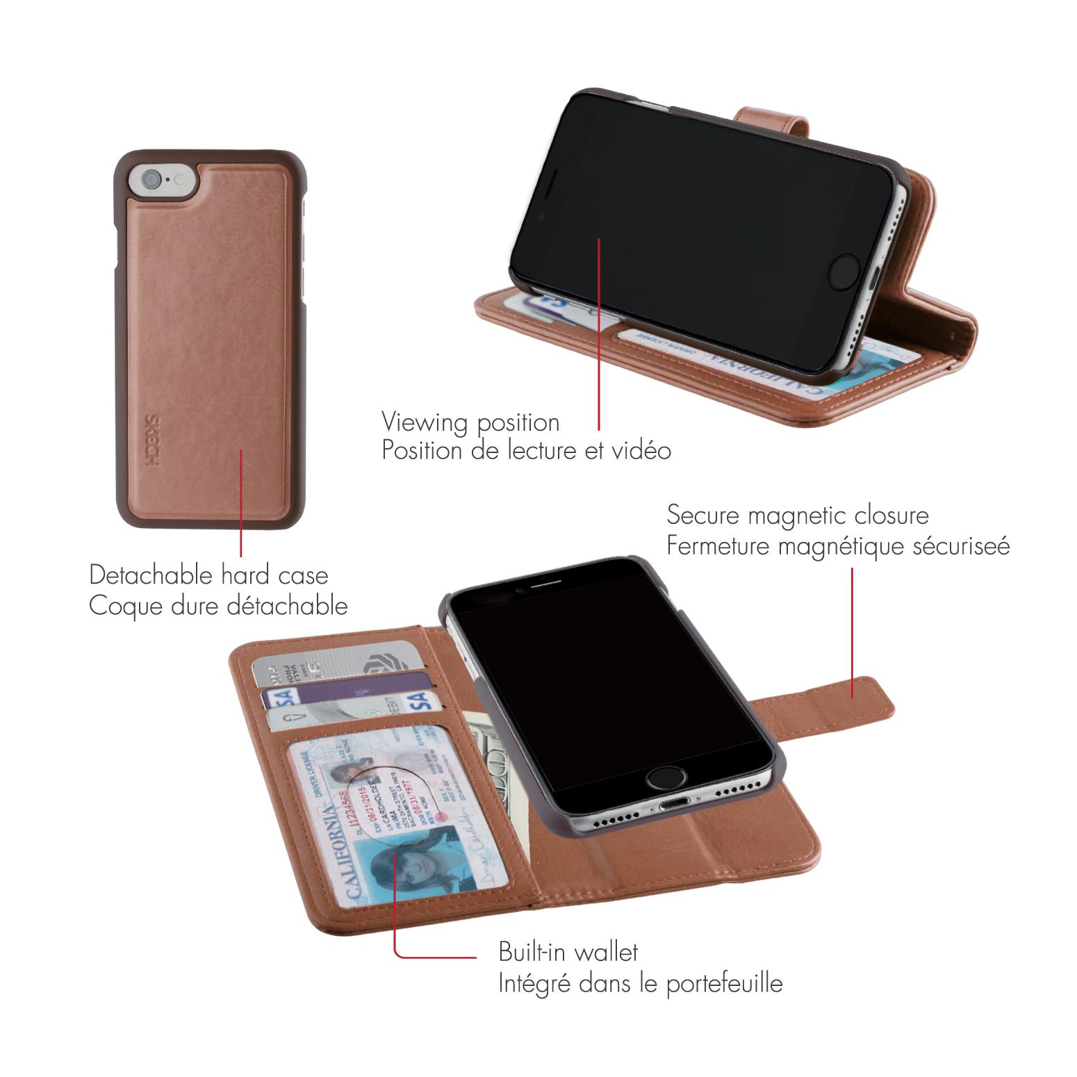 Original SKECH Case iPhone 7 Plus /6S Plus Polo Book Dual Brown Retail