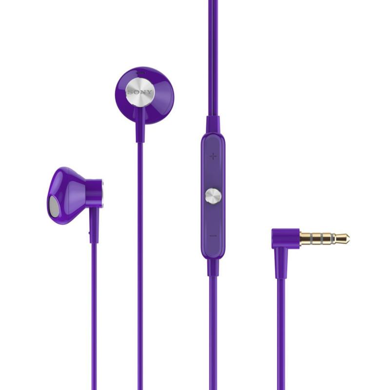 Original Sony Hands Free 3.5mm STH30 Premium Stereo W/Remote and Mic Full-Range HD Waterproof Purple Bulk