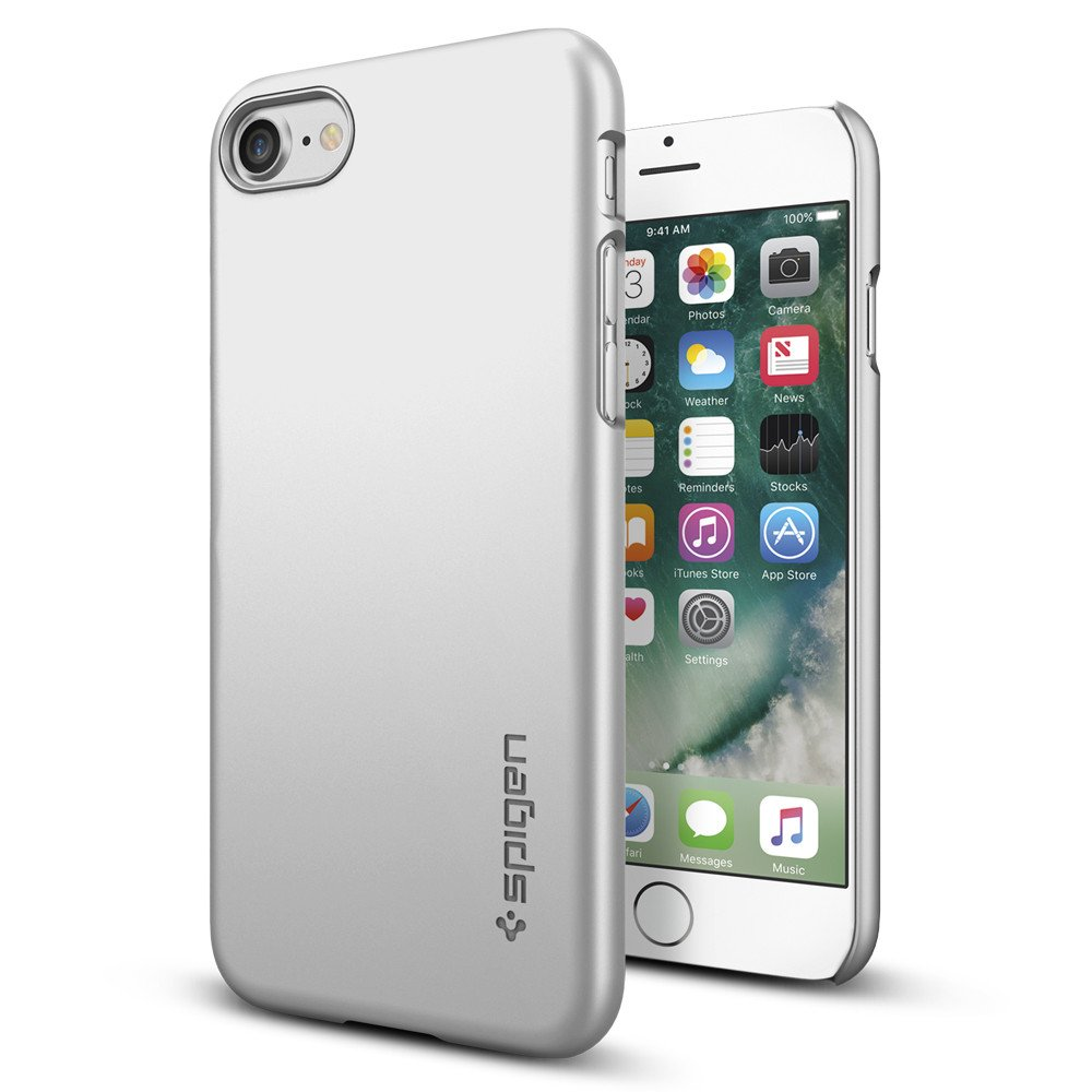 Original Spigen Case iPhone 7 Thin Fit Satin Silver Retail