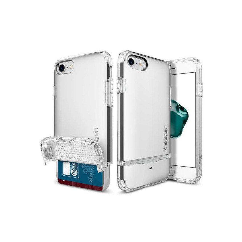 Original Spigen Case iPhone 7 Flip Armor Satin Silver Retail