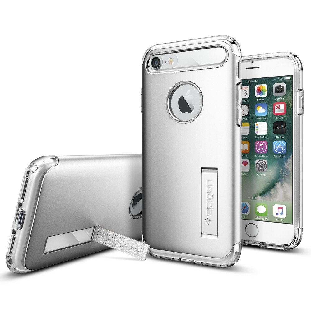Original Spigen Case iPHONE 7 Plus Slim Armor Satin Silver Retail
